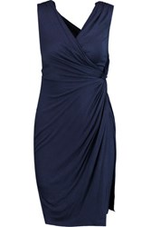 Bailey 44 Ruched Wrap Effect Stretch Jersey Dress Navy