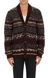 John Varvatos Star U.S.A. Men's Mixed Stitch Brushed Wool Cardigan Burgundy