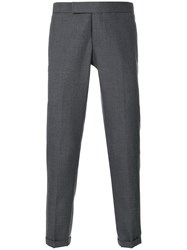 Thom Browne Engineered Striped Side Seam Solid Wool Twill Skinny Grey