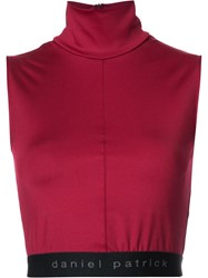 Daniel Patrick Funnel Neck Cropped Top Red