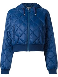 Twin Set Cropped Quilted Hooded Jacket Blue