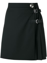 Alexander Mcqueen Pleated Mini Skirt Women Silk Calf Leather Virgin Wool 40 Black
