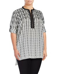 Calvin Klein Plus Geometric Crepe Tunic Black