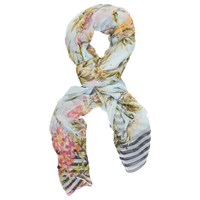Chesca Floral Beaded Scarf White Multi