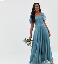 Asos Design Tall Bridesmaid Pleated Bodice Maxi Dress With Flutter Sleeve Soft Blue