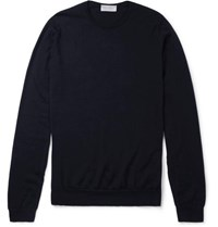 John Smedley Norland Cashmere And Silk Blend Sweater Navy