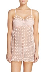 Betsey Johnson Women's Dot Mesh Chemise And Thong Rose