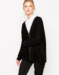 Shae Wool Blend Leather Trimmed Zip Front Cardigan Solidblack