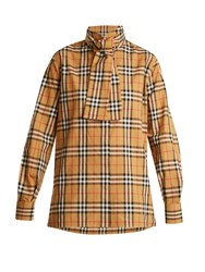 Burberry House Checked High Neck Cotton Shirt Beige Print