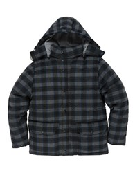 Grayers Timber Wool Blend Check Down Jacket Black Gray