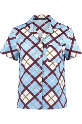 Marc By Marc Jacobs Checked Cotton Poplin Shirt Sky Blue