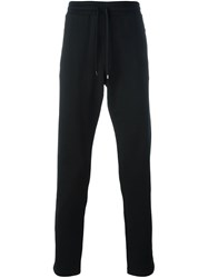 Dolce And Gabbana Embroidered Rose Track Pants Black