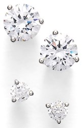 Women's Nordstrom Precious Metal Plated 0.50Ct Tw And 2Ct Tw Cubic Zirconia Stud Earrings Set Of 2