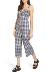 Socialite Tie Front Cropped Jumpsuit Black White Gingham