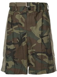 Sacai Belted Camouflage Shorts Green