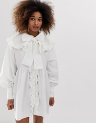 Sister Jane Button Down Mini Smock Dress With Oversized Crochet Bib And Pussybow White