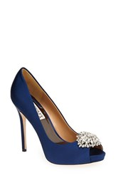 Women's Badgley Mischka 'Jeannie' Crystal Trim Open Toe Pump Navy Satin
