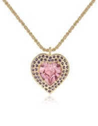 A Z Collection Gold Plated Heart Pendant Necklace Purple