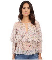 Rebecca Taylor Long Sleeve Tapestry Garden Chiffon Top Creamsicle Women's Blouse Bone