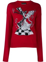 Boutique Moschino Chess Dancers Extrafine Wool Sweater Red