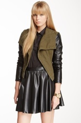 Romeo And Juliet Couture Faux Leather Sleeve Denim Jacket Green