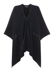 Armani Jeans Oversized Cape With Faux Leather Edging Black
