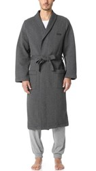 Hugo Boss Quilted Jacquard Shawl Collar Robe Black