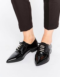 Asos Media Lace Up Pointed Flat Shoes Black