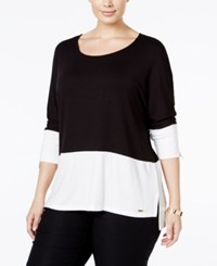 Calvin Klein Plus Size Colorblocked Dolman Top Black