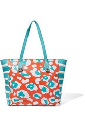 Red V Printed Leather Tote Papaya