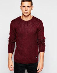 Cheap Monday Crew Jumper Chunky Knit Melange Burgundy
