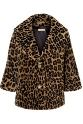 Michael Kors Collection Leopard Print Shearling Coat Brown