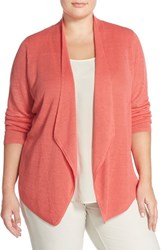 Plus Size Women's Eileen Fisher Silk Drape Front Cardigan