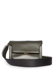 Marni Trunk Medium Leather Shoulder Bag Green White