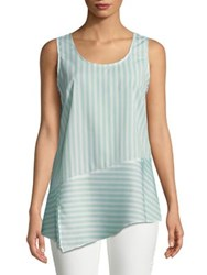 Ellen Tracy Asymmetrical Hem Stripe Sleeveless Top Chevron