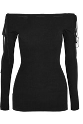 Adeam Off The Shoulder Ribbed Knit Top Black