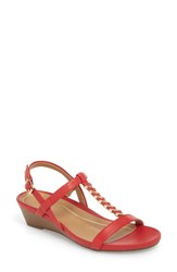 Vionic Cali T Strap Wedge Sandal Red Leather