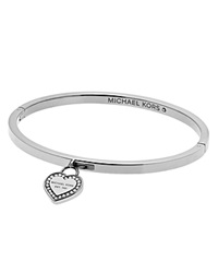 Michael Kors Hinge Bangle With Heart Charm Silver Clear