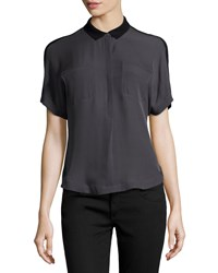 Halston Heritage Half Button Silk Combo Top Charcoal Black Grey Black