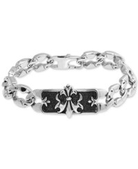 Macy's Fleur De Lis Plate Link Bracelet In Stainless Steel And Black Ion Plate