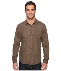 Nau Parallelogram Long Sleeve Shirt Mushroom Plaid Men's Long Sleeve Button Up Brown