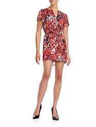Collective Concepts Leaf Print Short Sleeve Wrap Dress Red Multi