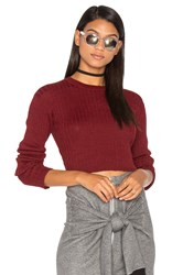 Frankie Rib Cropped Sweater Red