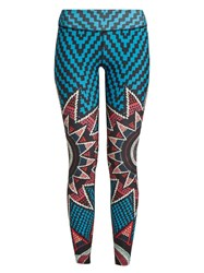 Mara Hoffman Starbasket Print Performance Leggings Blue Multi