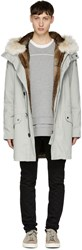 Yves Salomon Grey Fur Lined Long Military Parka