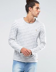 Esprit Striped Long Sleeve Top With Raw Neck Ecru Cream