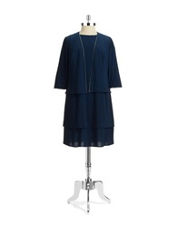 Alex Evenings Plus Two Piece Dress Set Blue Jay