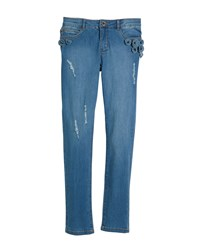 Mayoral Distressed Jeans W Floral Appliques Blue