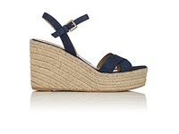 Barneys New York Women's Suede Platform Wedge Espadrille Sandals Blue Navy