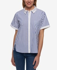 Tommy Hilfiger Striped Short Sleeve Shirt Only At Macy's Blue Colorway